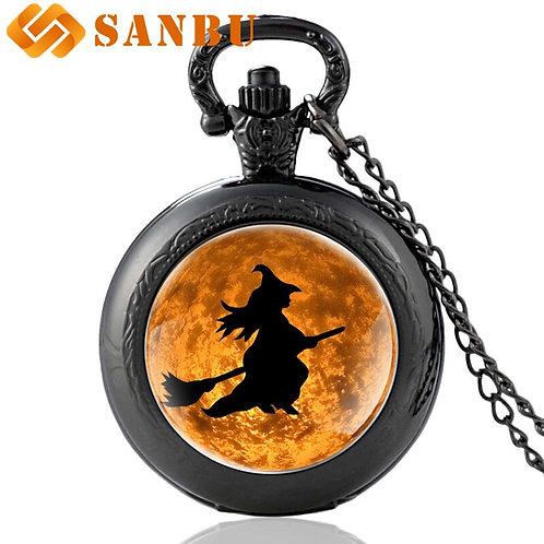 Classic Halloween Witch Quartz Pocket Watch Vintage Bronze