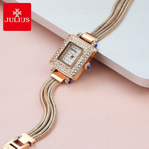 Small Full of Crystal Lady Women's Watch Japan Quartz Hours Fashion Snake Chain