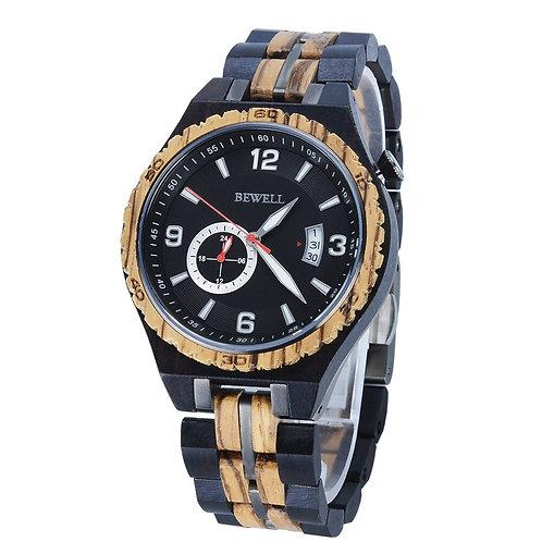 BEWELL Wood Watch Mens Watches Steel Watchband Series Top Brand Luxury