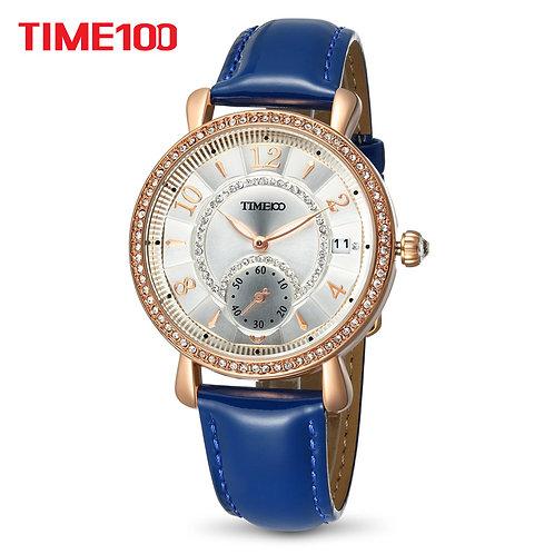 TIME100 Women Watches Blue Leather Bracelet Quartz Waterproof Wrist Watch
