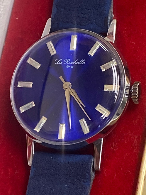 La Rochelle Swiss Mechanical Vintage Blue Dial NOS New Old Stock