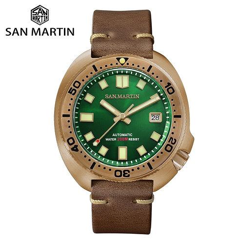 San Martin Abalone Bronze Diver Watches Men Mechanical Watch Luminous