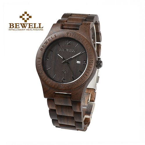 BEWELL Men's Watch Quartz Watch Unique Men Natural Wood Strap Classic