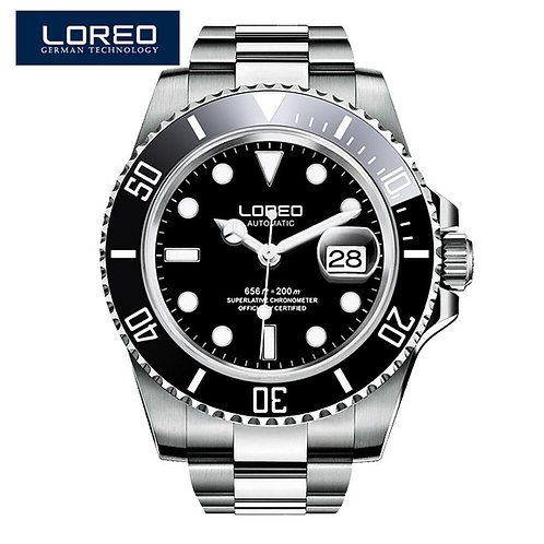 LOREO Luxury Brand Diving Men Military Sport Watches Men's Automatic Mechanical