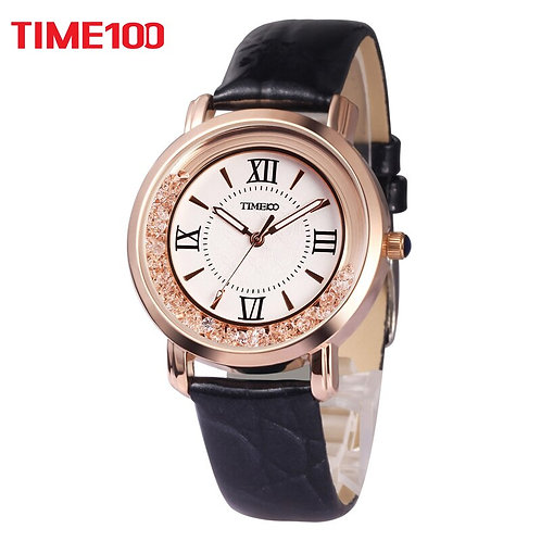 2017 New TIME100 Women's Watch Black Leather Strap Roman Numeral