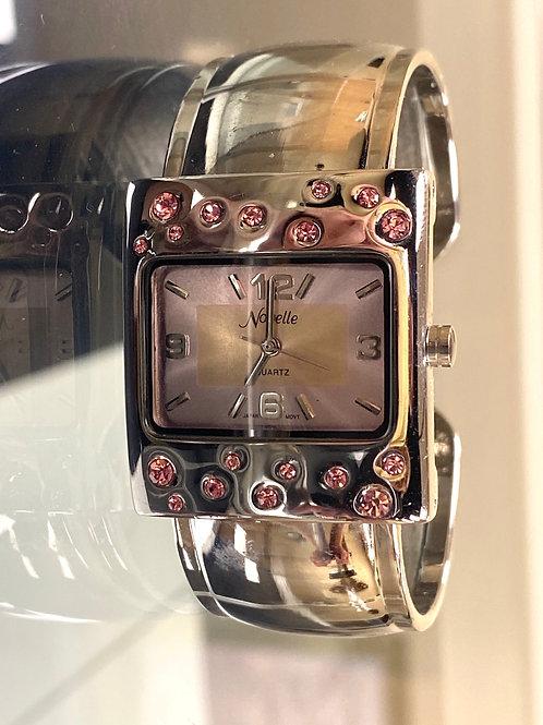 Novelle Ladies Pink Rhinestone Cuff Style Quartz Watch