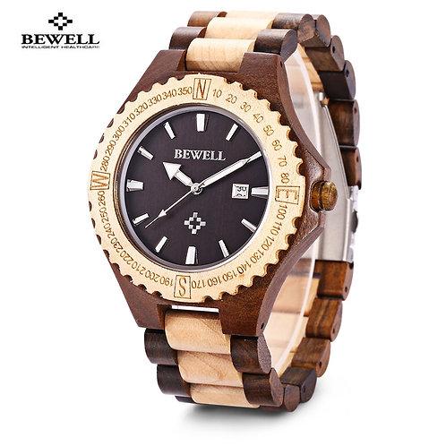 BEWELL Hot Sell Men Wood Watch Waterproof Quartz Watches Wooden Band Calendar