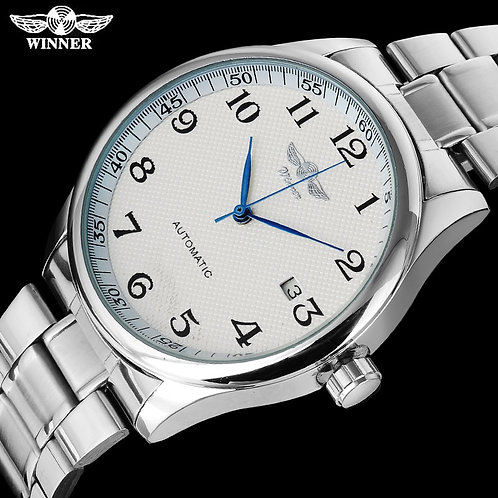 WINNER Fashion Casual Men Machanical Watches Stainless Steel Band