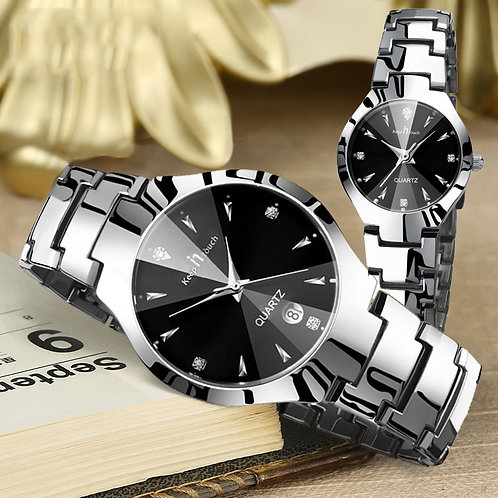 Montre Couple Watch Luxury Stainless Steel Waterproof Pair Watch Lovers Date