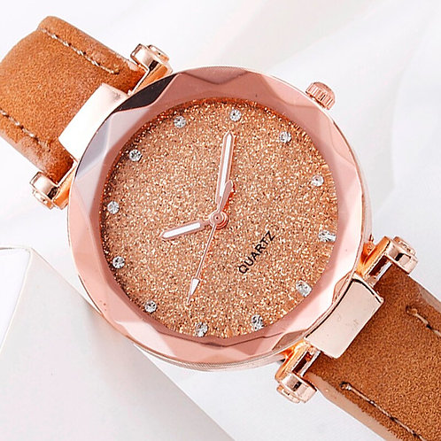 YOLAKO Women Watches Romantic Starry Sky Watch Leather Band Quartz Watch Ladies