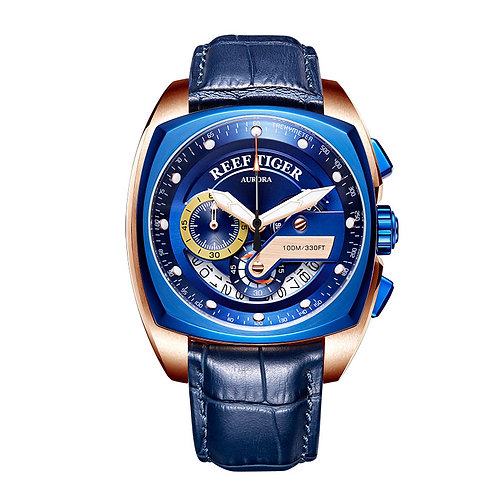 2020 Reef Tiger/Rt Top Brand Sport Watch for Men Luxury Blue Watches Leather