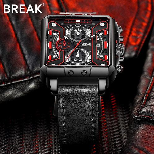 BREAK Men Top Luxury Brand Quartz Sport Watches Man Leather Strap Square