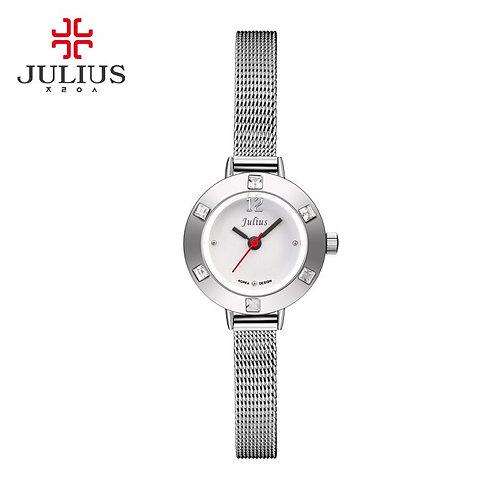 JULIUS JA-677 Grady Watch Women Leather Watch Silver Steel Rhinestone Designer