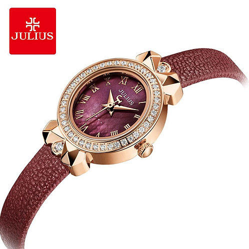 Julius Luxury Crystal Oval Fritillaria Dial Leather Watches Woman Waterproof