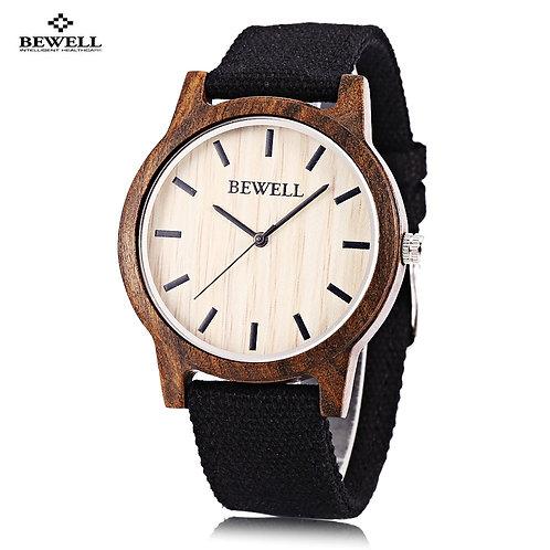 Bewell Wooden Quartz Watch Men Women Canvas Band Japan Movt Wristwatch