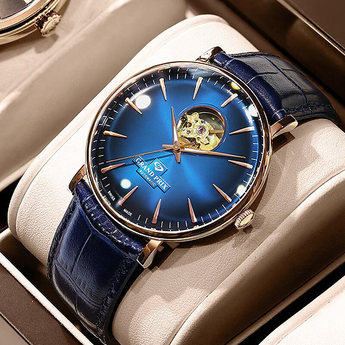 GRAND PRIX New Top Brand Luxury Relojes Oem Watch Automatic Mechanical Leather