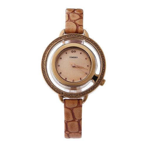 TIME100 Women Watches Quartz  Brown Snakeskin Leather Strap Diamond Skeleton