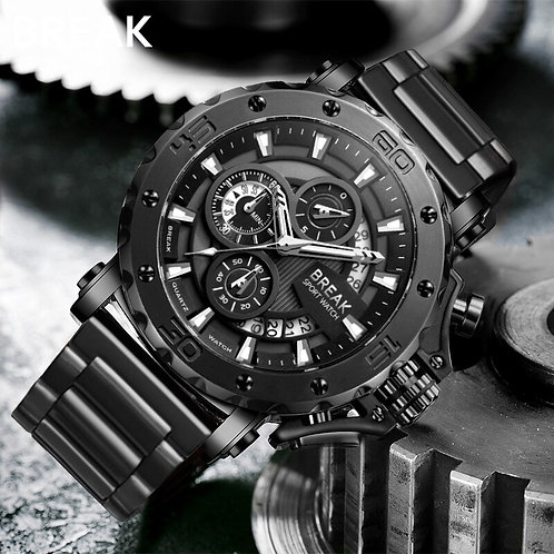 BREAK Men Quartz Watches Top Luxury Brand Stainless Steel Band Casual Fashion