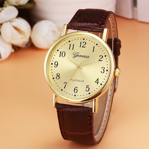 Mens Business Watch Retro Design Leather Band Analog Alloy Quartz Wrist Watch