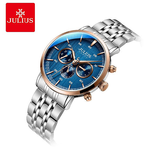 Julius Watch Men's New Arrival 6 Hands Multi-Function Watch Blue JAH-100