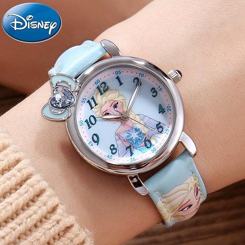 Frozen Elsa Princess Girl Cuties Butterfly Bowknot Watch Student Leather Quartz