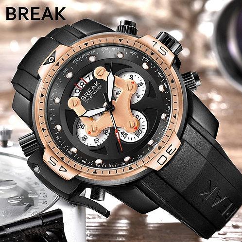 BREAK Watch Men Fashion Sport Quartz Clock Mens Watches Top Brand Luxury Rubber