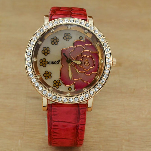 2020 Hot Sale Ladies Watches Large Watches Women Fashion Rose Flower Watch