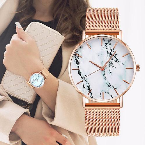 Fashion Rose Gold Mesh Band Creative Marble Female Wrist Watch Luxury Women