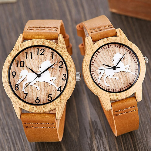 Vintage Imitation Wood Watch Horse Men Women Imitate Wooden Wristwatch Soft