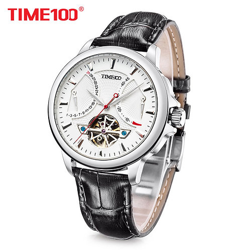 TIME 100 Mens Skeleton Watches Clock Automatic Mechanical Watch Men Business