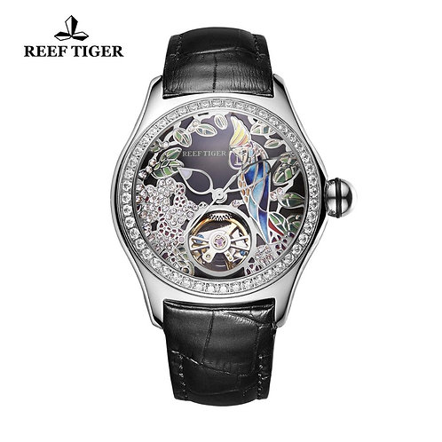 2019 Reef Tiger/Rt Top Brand Fashion Watches for Women Leather Band Steel Watch