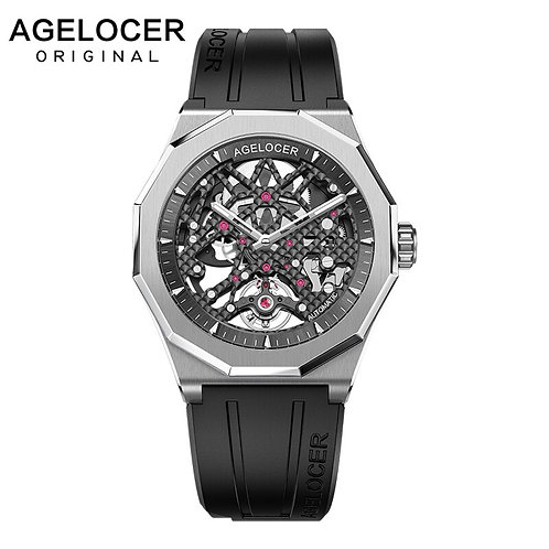 AGELOCER Swiss Luxury Watches Sport Men's Skeleton Mechanical Automatic Watch