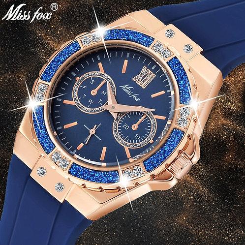 MISSFOX Women's Watches Chronograph Rose Gold Sport Watch Ladies Diamond Blue