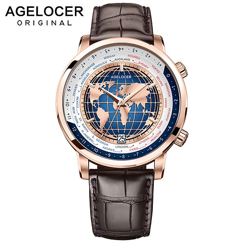 AGELOCER Men Watch Swiss Luxury Brand Worldtime Automatic Mechanical Men's