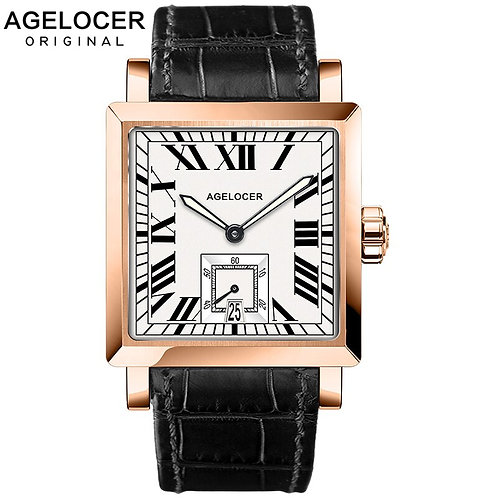 AGELOCER Watches Men Sports Watches Black Steel Dual Time With Calendar Luminous
