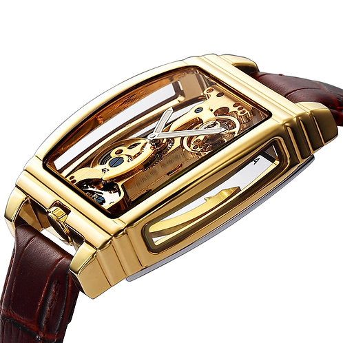 Transparent Automatic Mechanical Watch Men Steampunk Skeleton Luxury