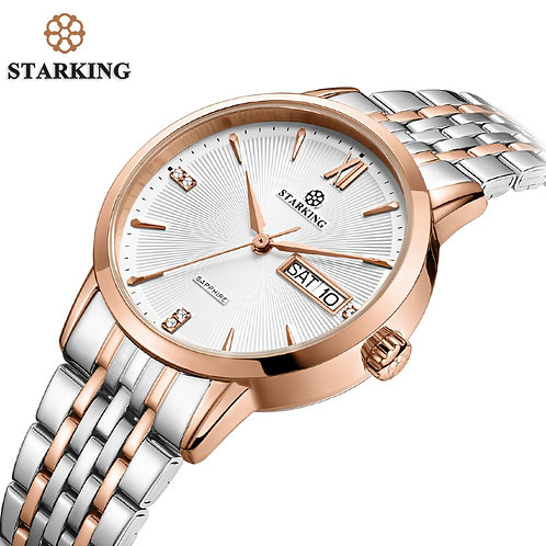 STARKING Top Brand Stainless Steel Bracelet Watch Women Luxury Quartz Auto Date