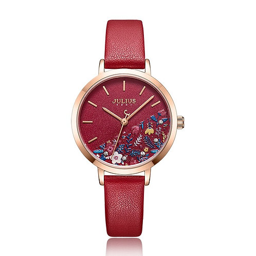 Lovely Printing Flower Lady Women's Watch Elegant Japan Mov't Clock Fashion