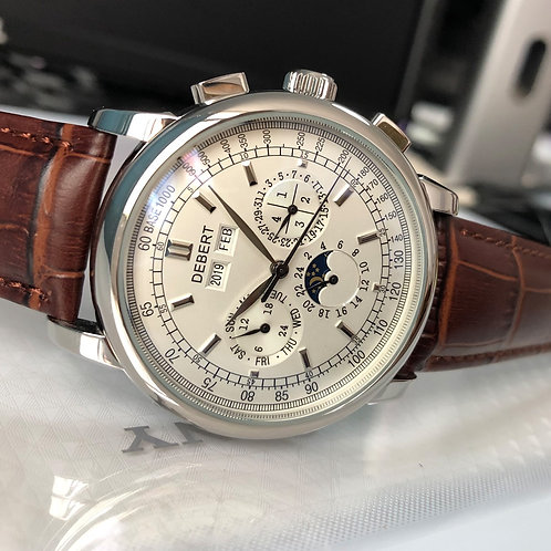 42mm Debert Mechanical Moon Phase Year Day Month Week Automatic Watch Men
