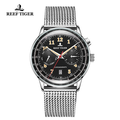 Reef Tiger/Rt Classic Vintage Watch for Business Men Steel Bracelet RGA9122