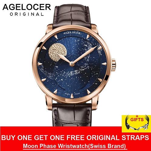 AGELOCER Switzerland Designer Moon Phase Luxury Watch Top Brand Mens Automatic