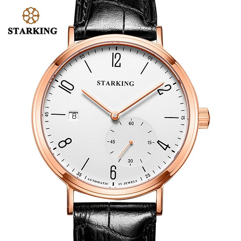 STARKING Luxury Men Automatic Mechanical Watch Self-Wind Auto Date Skeleton