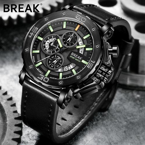 BREAK Men Top Luxury Brand Wristwatch Leather Strap Casual Fashion Chronograph