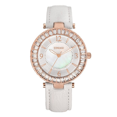 TIME100 Women's Quartz Watches Leather Strap Diamond Shell Big Dial Waterproof