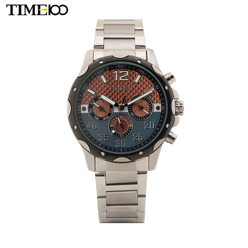 Free Shipping TIME100 Business Stainless Steel Strap Multifunctional Chronograph