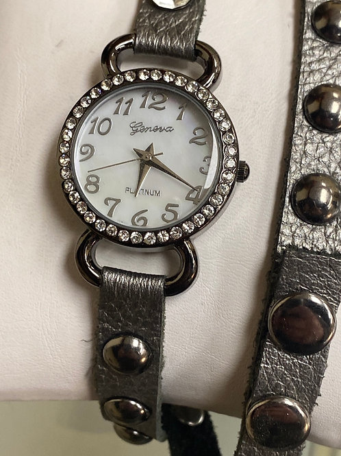 Geneva Mother of Pearl MOP Dial Platinum Edition Wrap Around Style Ladies watch
