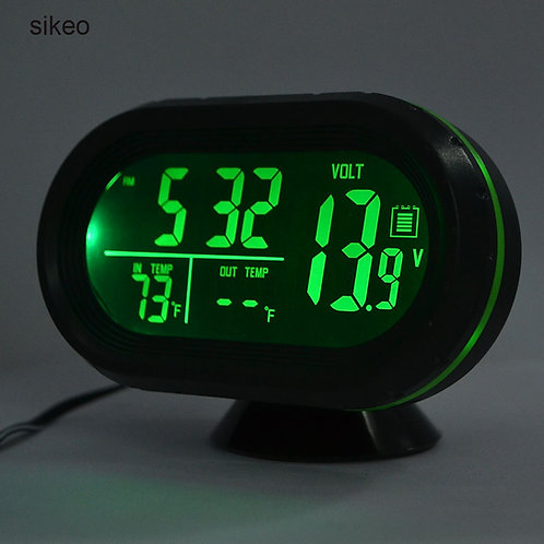 Sikeo Car Thermometer Digital Clock DC12-24V Automobile Clock LED Lighted Auto