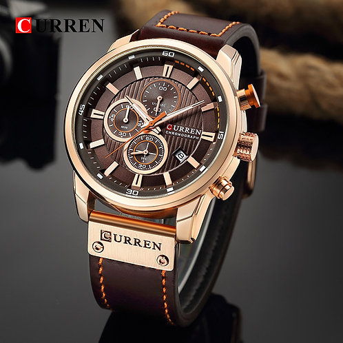 CURREN 8291 Luxury Brand Men Analog Digital Leather Sports Watches Men's Army