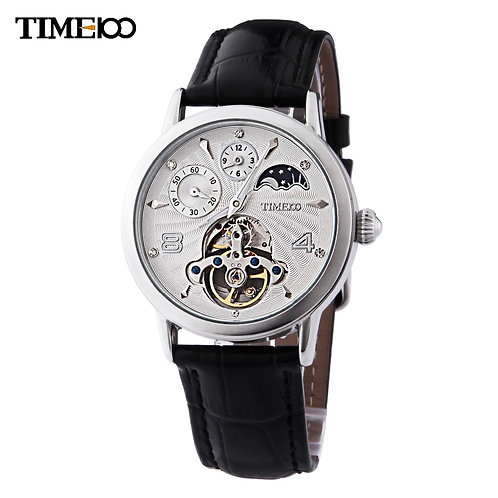 TIME100 Men's Automatic Self Wind Mechanical Watch Sun Phase Skeleton