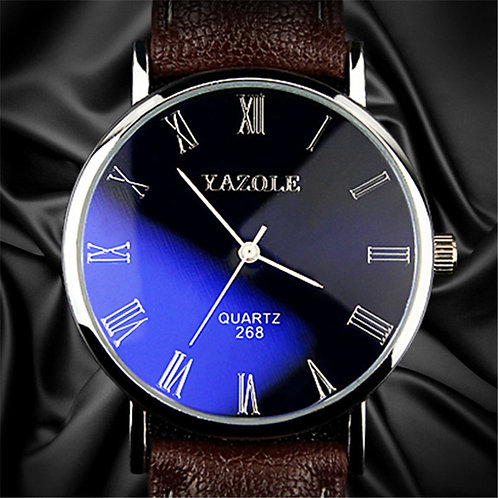 Yazole Brand Watch Men Fashion Casual Leather Strap Classic Blue Glass